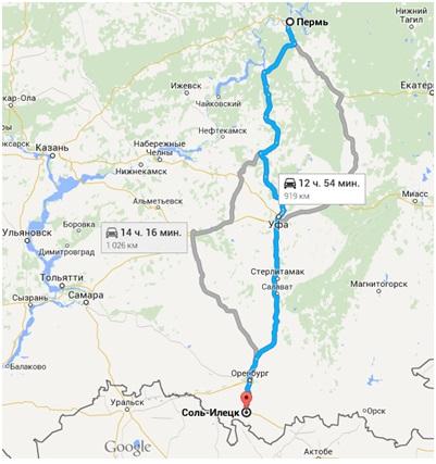 Пермь – Соль-Илецк (маршрут,